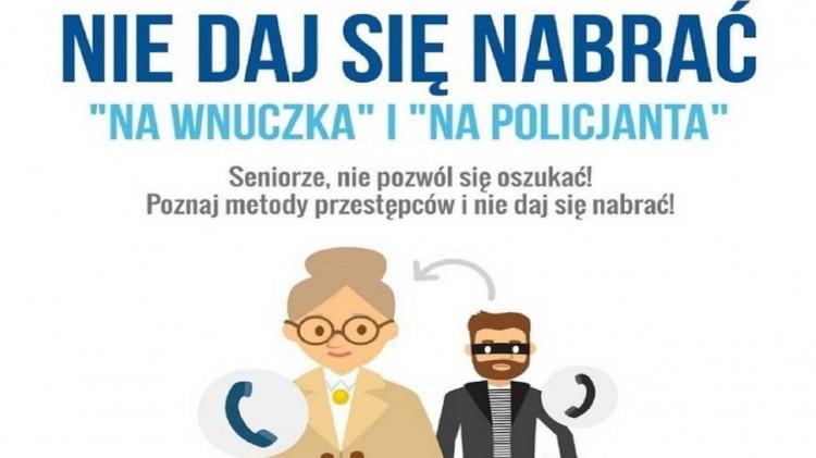 """Policjanci apelują – uważajmy na oszustów metodą """"na wnuczka"""" i """"na policjanta""""."""