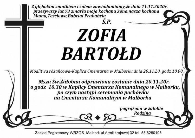 Zmarła Zofia Bartołd. Żyła 73 lata.