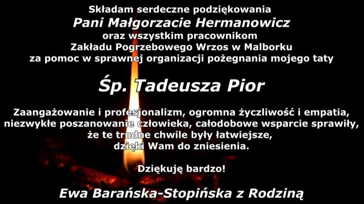 Podziękowanie dla Zakładu Pogrzebowego za organizację pogrzebu od rodziny śp. Tadeusza Pior.