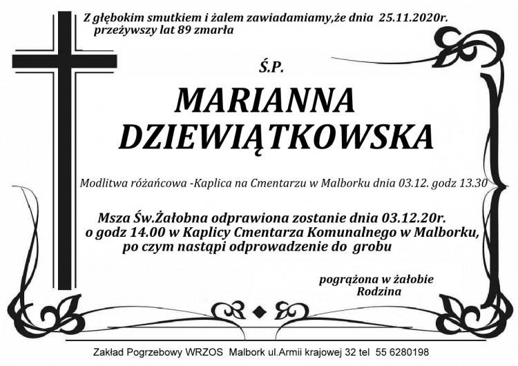 Zmarła Marianna Dziewiątkowska. Żyła 89 lat.