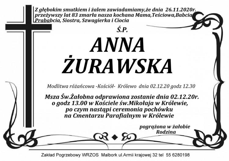 Zmarła Anna Żurawska. Żyła 83 lata.