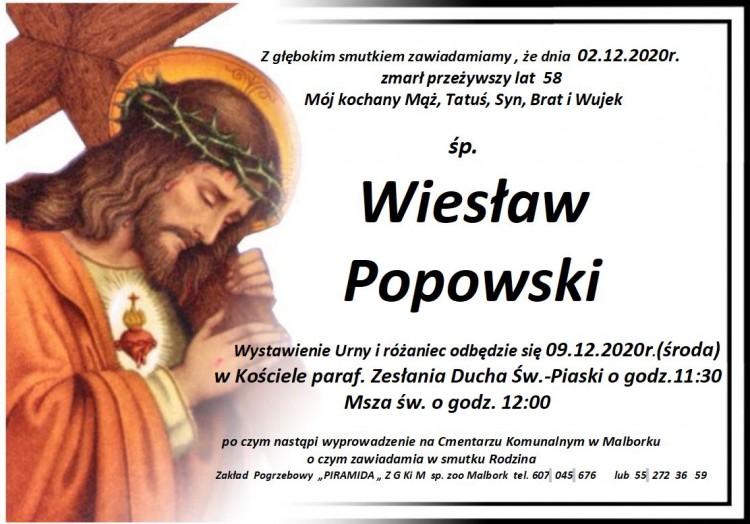 Zmarł Wiesław Popowski. Żył 58 lat.