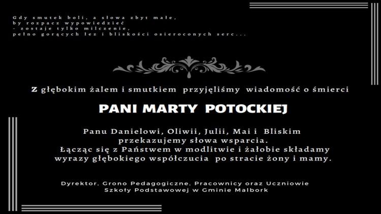 Dyrektor, Grono Pedagogiczne, Pracownicy oraz Uczniowie Szkoły Podstawowej w Gminie Malbork składają kondolencje.