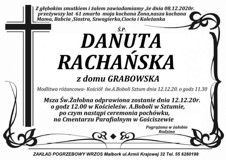 Zmarła Danuta Rachańska. Żyła 61 lat.