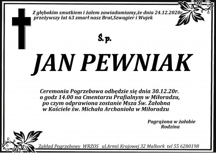 Zmarł Jan Pewniak. Żył 63 lata.