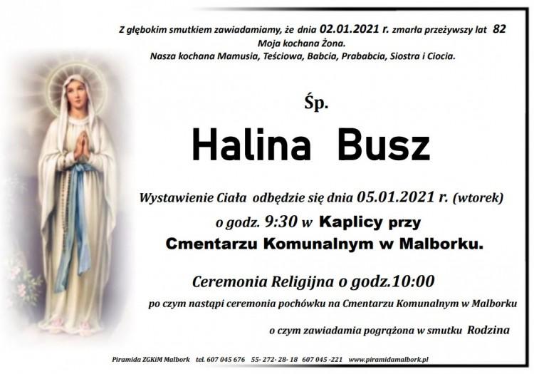 Zmarła Halina Busz. Żyła 82 lata.