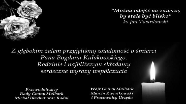 Wójt Gminy Malbork, pracownicy Urzędu Gminy, Przewodniczący Rady Gminy Malbork oraz Radni składają kondolencje.