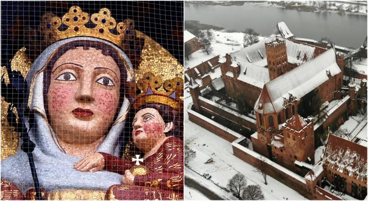 Monumentalna figura Madonny na zamku malborskim w zimowej aurze.