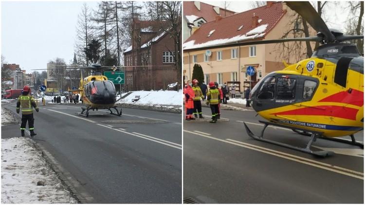 Sztum. Aby zabrać pacjenta, LPR wylądował na ulicy w centrum miasta.