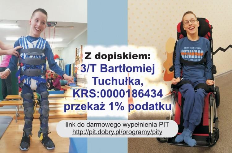 Malbork. Pomóż Bartkowi Tuchułce i przekaż swój 1% podatku.