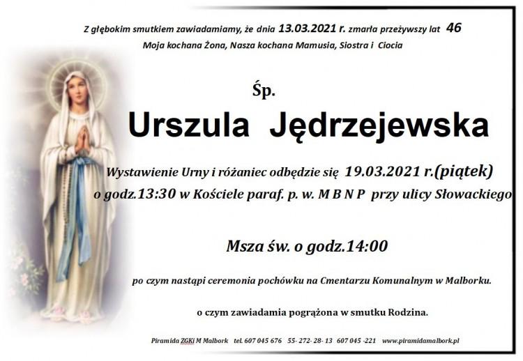 Zmarła Urszula Jędrzejewska. Żyła 46 lat.