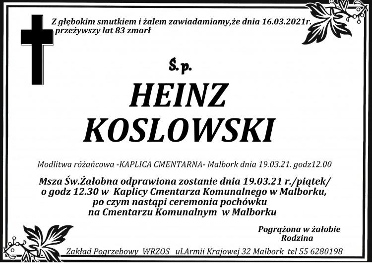 Zmarł Heinz Koslowski. Żył 83 lata.