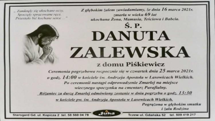 Zmarła Danuta Zalewska. Żyła 69 lat.
