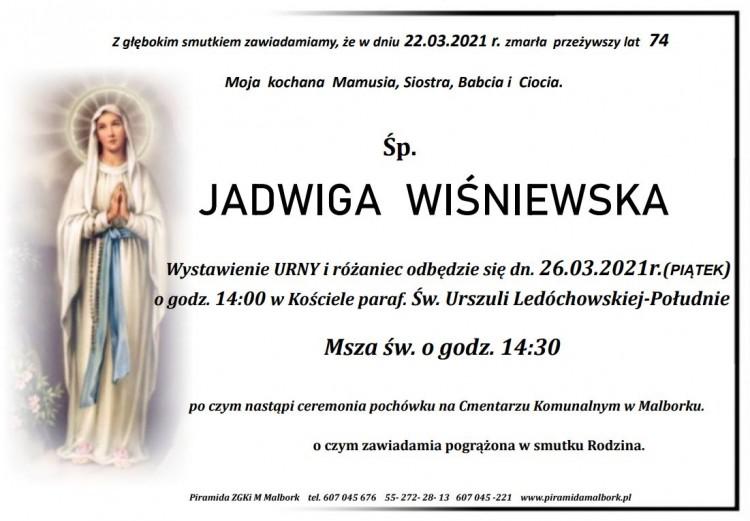 Zmarła Jadwiga Wiśniewska. Żyła 74 lata.