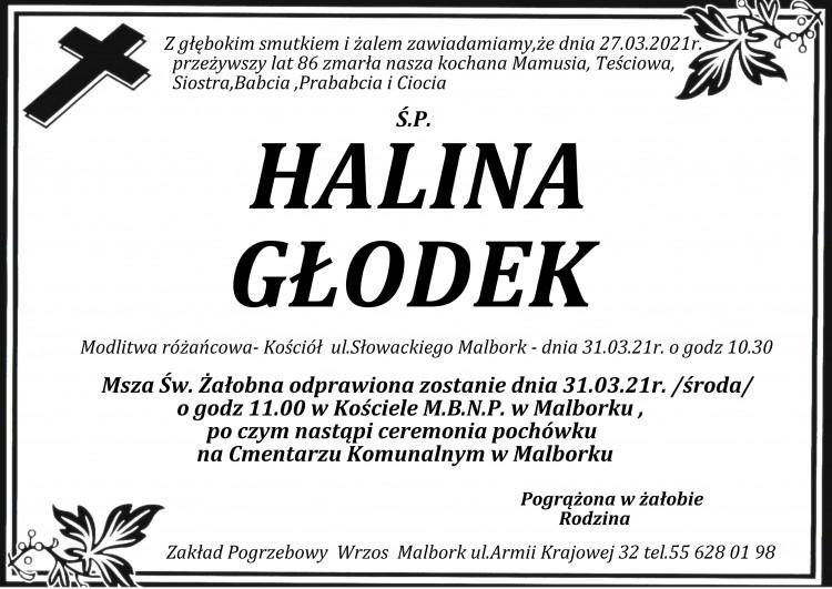 Zmarła Halina Głodek. Żyła 86 lat.