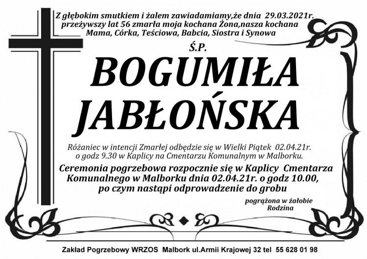Zmarła Bogumiła Jabłońska. Żyła 56 lat.