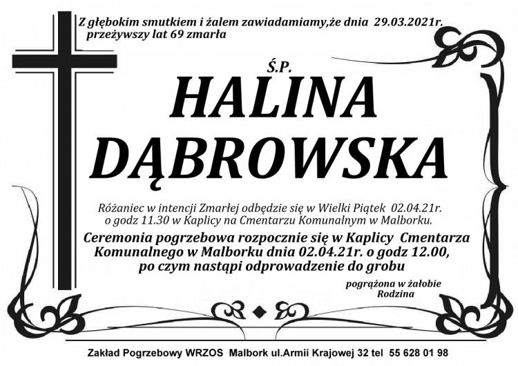 Zmarła Halina Dąbrowska. Żyła 69 lat.
