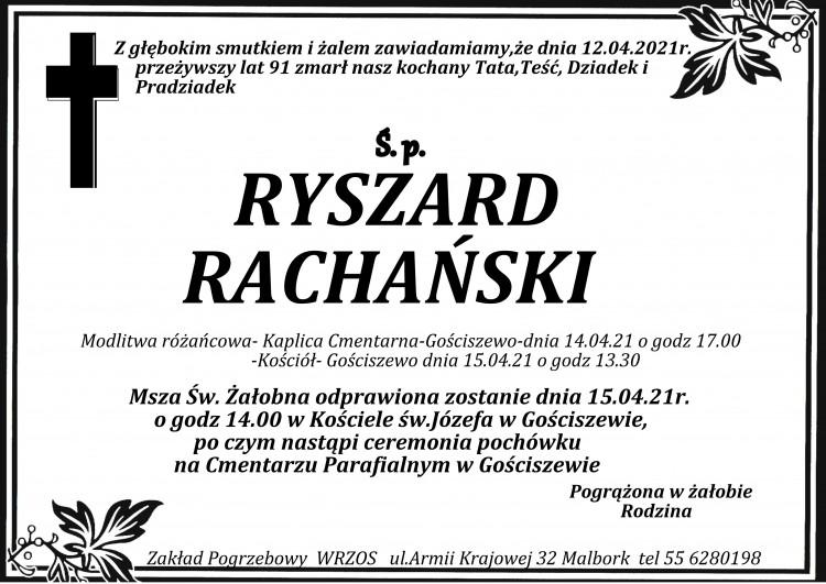 Zmarł Ryszard Rachański. Żył 91 lat.