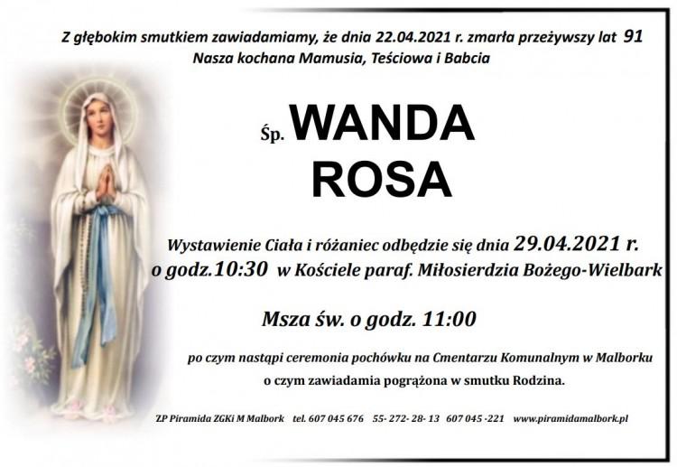 Zmarła Wanda Rosa. Żyła 91 lat.