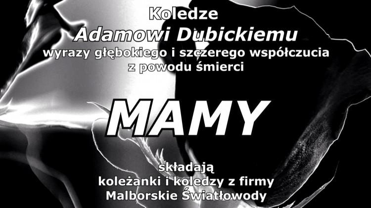 Kondolencje pracowników firmy Malborskie Światłowody.