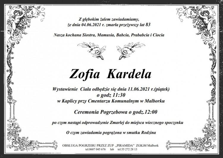 Zmarła Zofia Kardela. Żyła 83 lata.