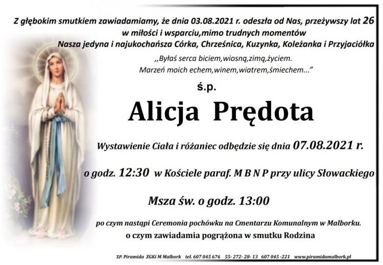 Zmarła Alicja Prędota. Żyła 26 lat.