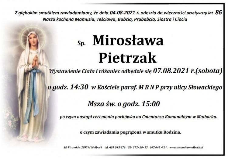 Zmarła Mirosława Pietrzak. Żyła 86 lat.