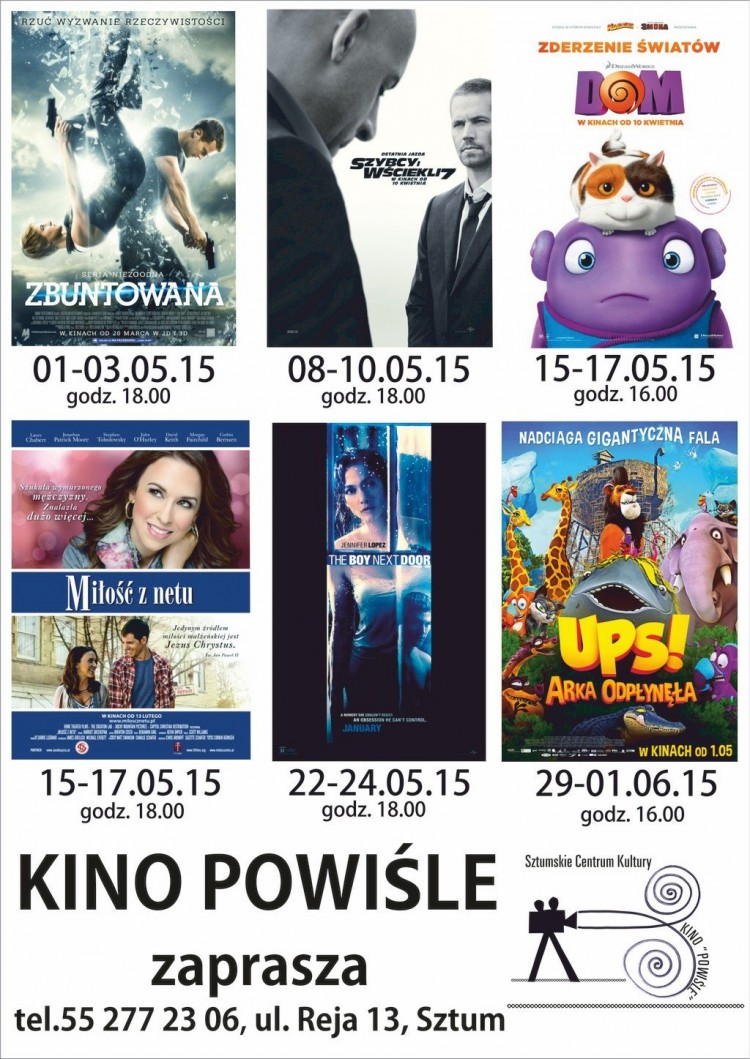 "REPERTUAR SZTUMSKIEGO KINA ""POWIŚLE"" NA MAJ - 01-31.05.2015"