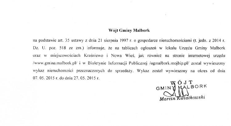 WÓJT GMINY MALBORK INFORMUJE O WYKAZIE NIERUCHOMOŚCI PRZEZNACZONYCH DO SPRZEDAŻY - 07.05.2015
