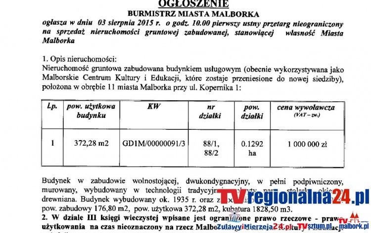 Ogłoszenie Burmistrza Miasta Malborka z dnia 14 maja 2015 r. o przetargu na sprzedaż nieruchomości przy ul. Kopernika 1